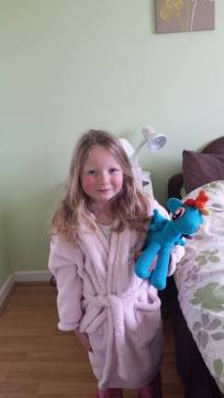 Saoirse with Rainbow Dash Easter Morning