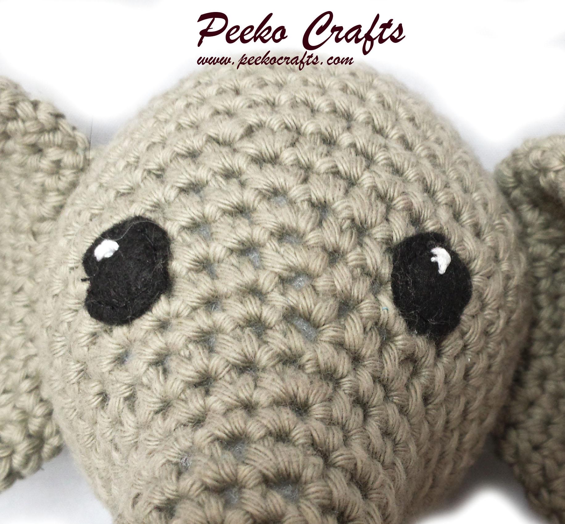 Crocheted Amigurumi Elephant Pattern. | Crochet elephant pattern ... | 1700x1832
