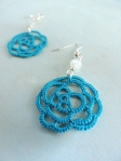 Ocean Teal Lace Rose with White Cats Eye Beads