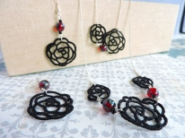 Black Roses with Czech Glass Ruby Red Picasso Beads - 3 piece set