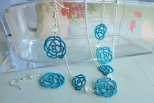 Ocean Teal Roses with White Cats Eye Beads - 3 piece set