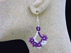 Elegant Purple and White Floret Design with Beads
