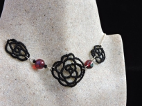 Black Lace Rose with Czech Glass Ruby Picasso Beads