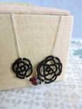 Black Lace Rose with Czech Glass Ruby Red Picasso Bead