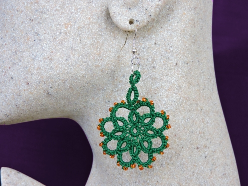 Green Lace Flower with Amber Bead Detail