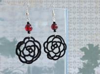 Black Lace Rose Earrings with Czech Glass Ruby Picasso Beads