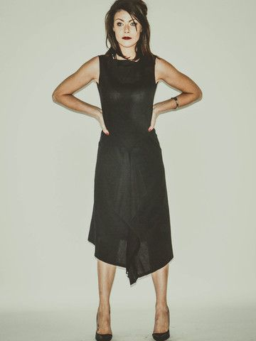 PENEL Black Linen Tea Length Evening Dress by Banteay Srey Boutique €102.09 http://bit.ly/1lOi4MT