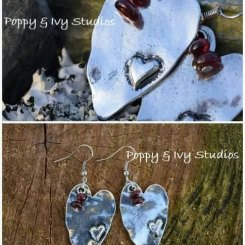 hammered silver plated hearts with genuine garnet earrings by Poppy and Ivy Studios. From €15 http://etsy.me/1Rakkdc