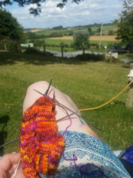 Knitting in the sunshine